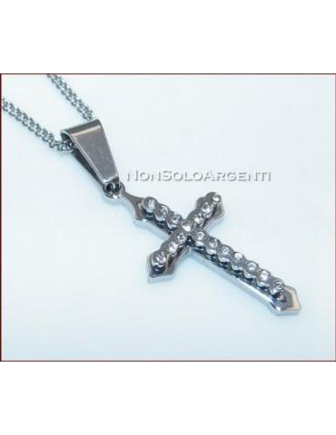 Acciaio : Collana grumetta con ciondolo croce con zirconia bianchi