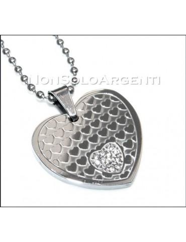Acciaio : Collana pallini beads uomo donna unisex ciondolo cuore con zirconia