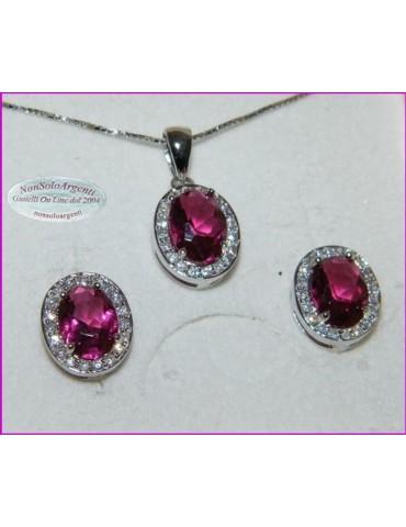 Parure Argento 925 : Collana girocollo con ciondolo e Orecchini con zirconi rosa acceso e bianchi