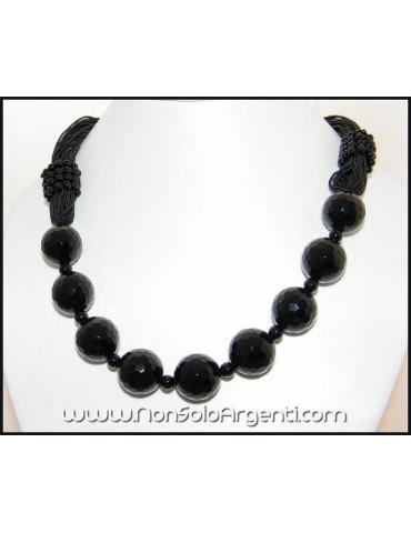 Girocollo da Donna a Torchon di Mega Perle e Perline di Onice Nera Naturale