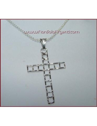 ARGENTO 925 Ciondolo a croce braccia Traforate Unisex Nuova collana beads silver omaggio