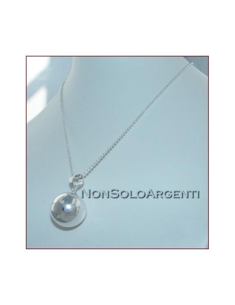 ARGENTO 925 : Lunga collana con grande ciondolo chiama angeli carillon