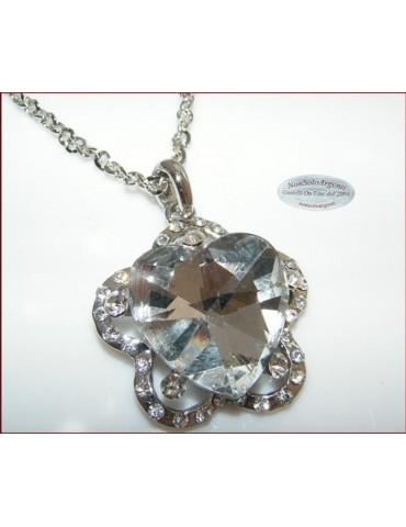 Bigiotteria : Collana catena argentata con ciondolo grande Cuore su Fiore vari colori