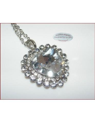 Bigiotteria : Collana catena argentata con ciondolo grande a cuore Bianco