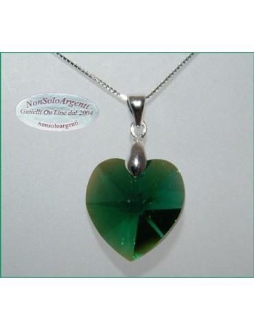Collana in argento 925 con ciondolo Cuore Emerald AB swarovski certificato