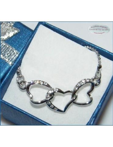 Bigiotteria : Collana argentata con centrale 3 cuori intrecciati in cofanetto