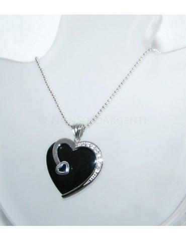 ARGENTO 925 : Ciondolo cuore di Onice con Zirconi e collana beads