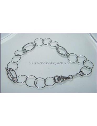 Argento 925 : Bracciale con cerchi lisci e ovali diamantati