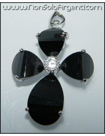 ARGENTO 925 : Ciondolo croce di cristallo nero onice con zircone e collana beads