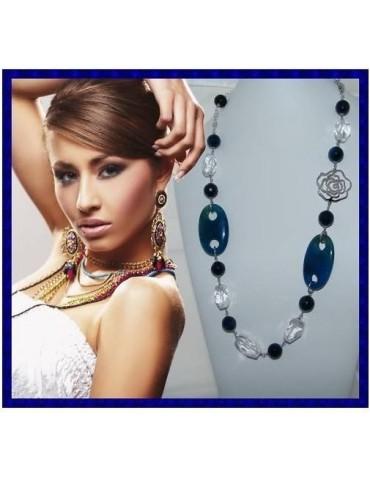 Lunga Collana Argento 925 Perle Cristallo Agata blu e vetro
