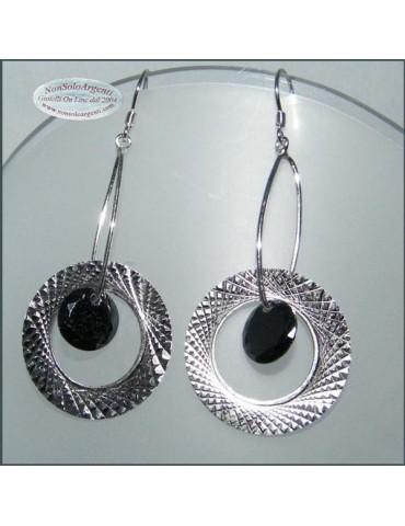 Argento 925 : Orecchini con ciondoli a cerchio e cristallo nero