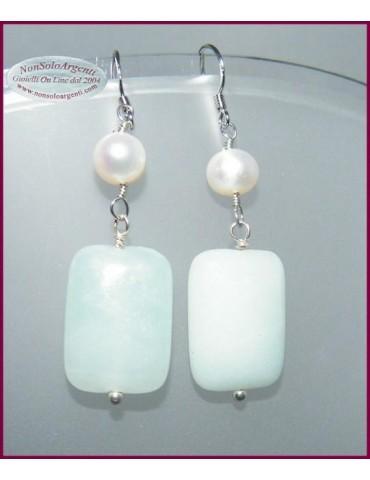 Orecchini in argento 925 Perle e Amazzonite Naturali