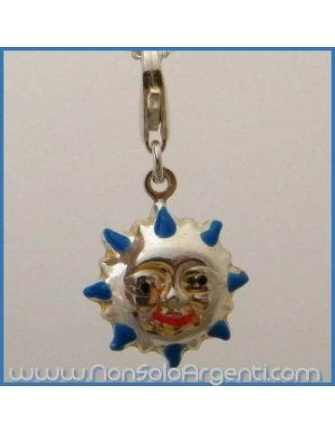 ARGENTO 925: Charme con figura di sole con raggi  bombato smaltata a mano