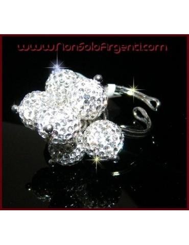 Argento 925 : Anello regolabile con 7 ciondoli a sfera di zirconia Bianchi