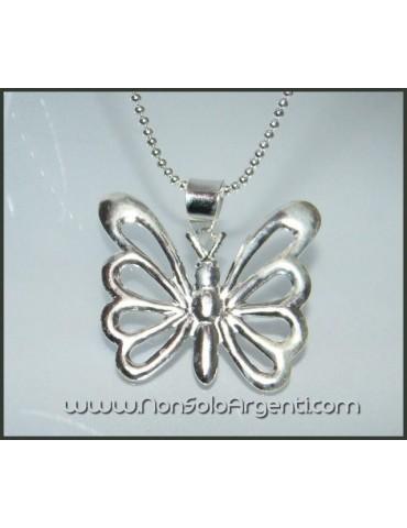 Argento 925 : Collana Beads con grande farfalla