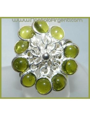 Argento 925 : Anello in argento 925 con Ciondoli gemme di Peridoto Olivina misura 16