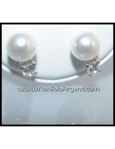 Argento 925 Italiano Rodiato : Orecchini con zircone e perla