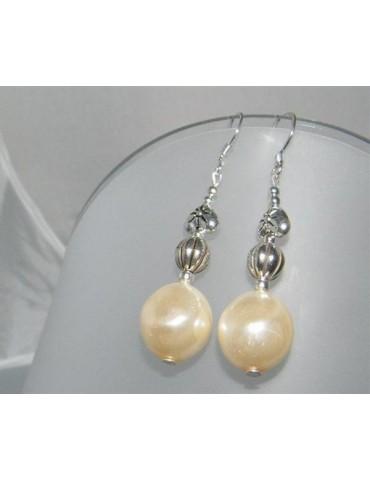 Argento 925 : Orecchini con ciondoli di perle resina e madreperla