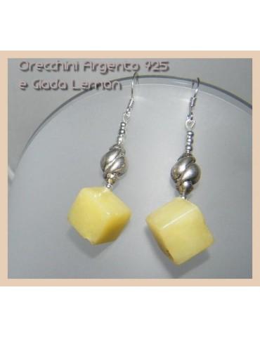 Argento 925 : Orecchini con ciondoli a cubetto di Giada Lemon