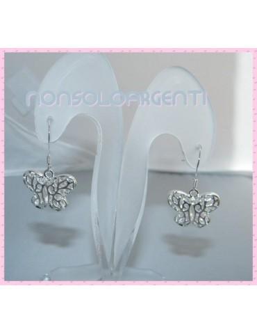 Orecchini pendenti Farfalle in lega con placcatura argento