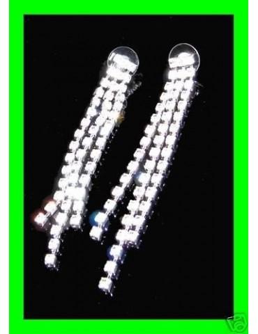 Bigiotteria : Orecchini colore Argento a 3 File di Strass