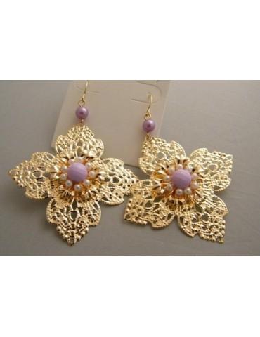 Orecchini Bigiotteria : Fiore Filigranato colore Oro perle ROSA chiaro