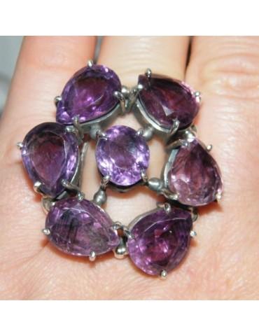 Argento 925 : imponente anello con pietre ametista mis 19