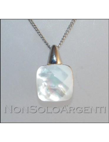 Argento 925 : Collana girocollo veneziana o grumetta ciondolo madreperla naturale bianca