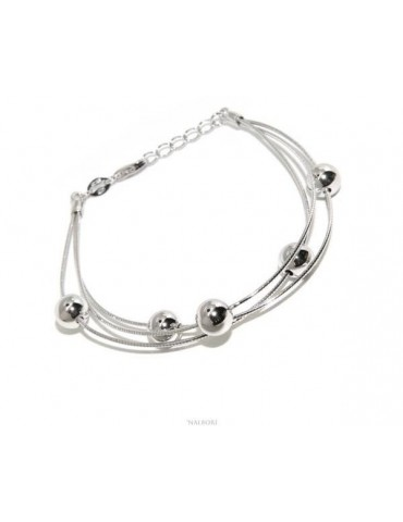 NALBORI Bracciale planetario donna argento 925 snake 3 fili con palline 8 mm polso cm 15 - 19