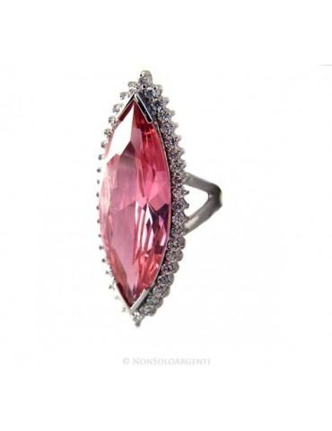 Argento 925 Rodiato : Grande anello donna navetta zircone rosa cristallo Idrotermale e zirconcini bianchi misura 17