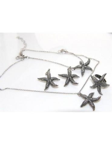 Argento 925 : Gioielli realizzati a mano con stelle marine grandi - Orecchini - collana - bracciale o completo