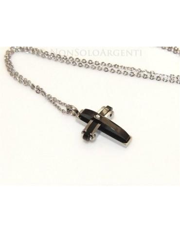 Acciaio  : Esclusiva collana rolo' ciondolo croce ip nero zircone