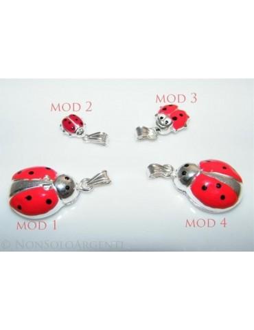 Ciondolo Argento 925 : Amuleto Coccinella Grande media Rossa + modelli