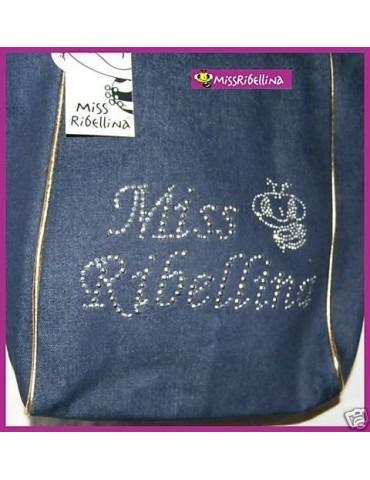 Borsa Jeans Miss Ribellina con Manici Oro