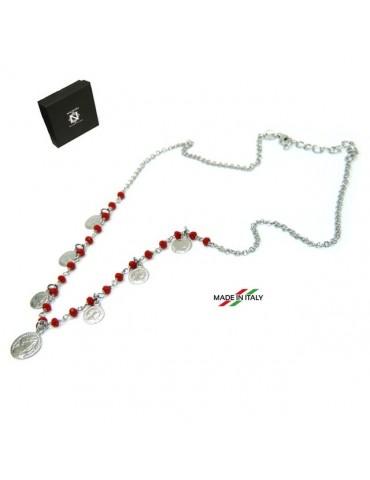 NALBORI Collana Argento 925 moneta cristallo rosso marsigliesi monetine