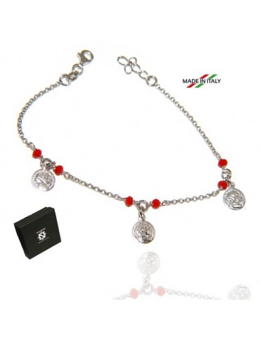 NALBORI Bracelet Silver 925 red crystal with coin pendants