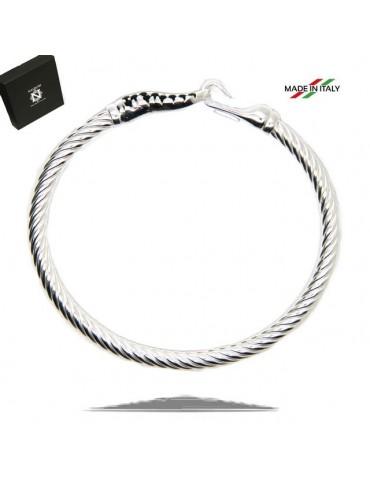 NALBORI Cable bracelet with rigid cable with natural black zirconias