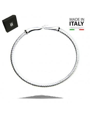 NALBORI Cable argento 925 bracciale gancio e pietre nere