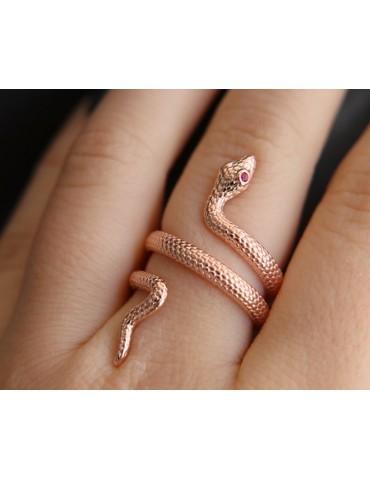 NALBORI anello serpente argento 925 bagno oro rosa zircone rosso