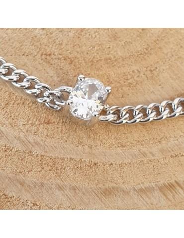 NALBORI choker zircone ovale argento 925 grumetta collana