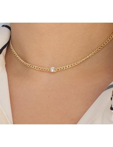NALBORI round zircon choker necklace 925 silver round curb