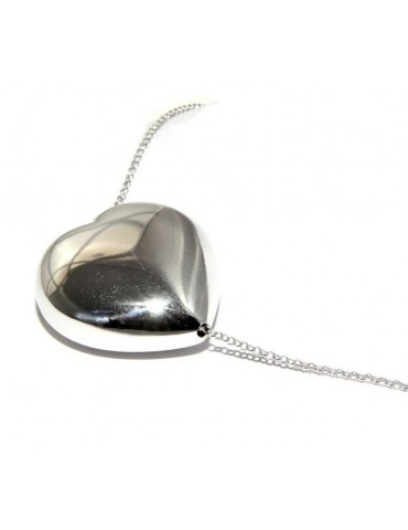 woman choker necklace with large looped heart in 925 sterling silver handcrafted
