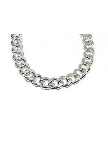 NALBORI bracelet or curb necklace 17.5mm large 925 silver diamond