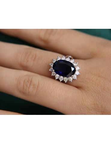 NALBORI anello argento 925 con brillante ovale blu