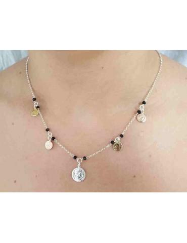 Collana Argento 925 monete 3 colori e cristallo nero