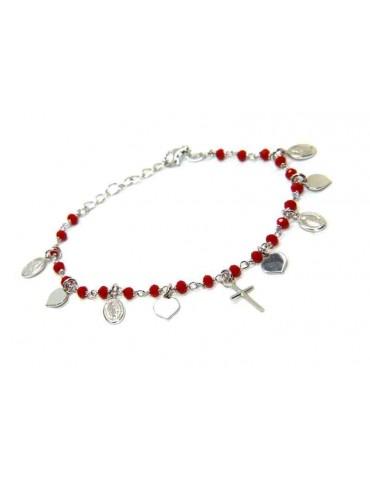 NALBORI Bracciale Argento 925 madonna cuori croce rosso rosario