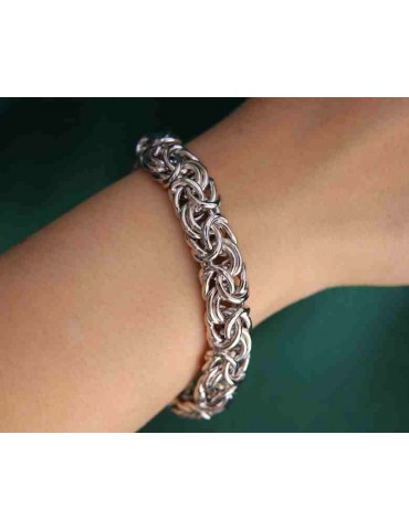 NALBORI : bracciale argento 925 maglia bizantina donna vistoso e grande