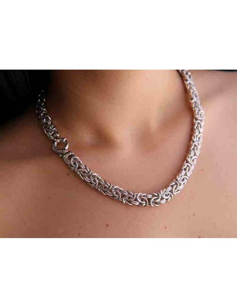NALBORI collana donna collier argento 925 catena bizantina da 12 mm