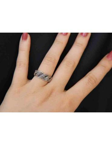 Anello in argento 925 scuro con treccia intrecciato regolabile aperto, per uomo e donna