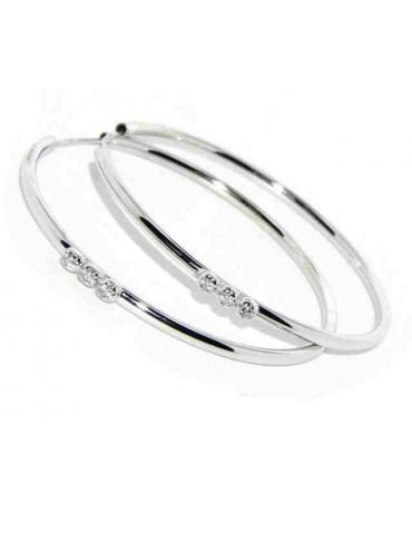 orecchini argento 925 anelle cerchi 45mm trilogy zirconi colorati o bianchi